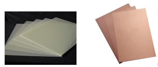 Sheets of FR4 Grade Fiberglass Laminates and Copper Clad Core