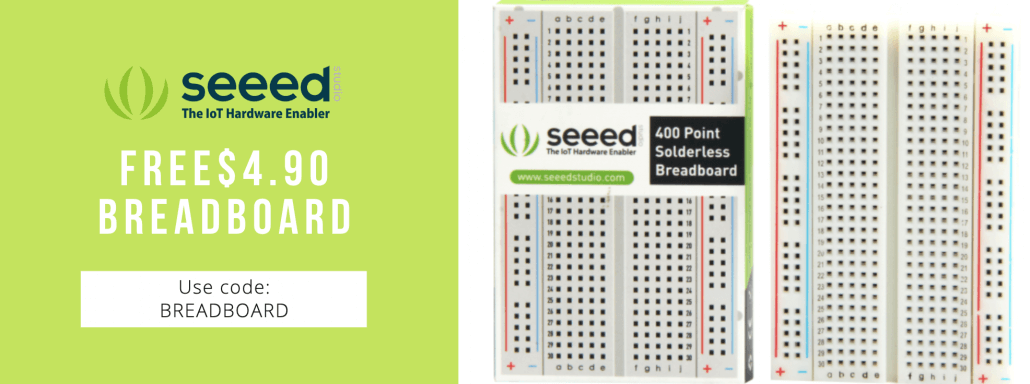 Seeed also offer one free breadboard for each customer, apply the code BREADBOARD to get one free breadboard(valued $4.90) at Seeed!